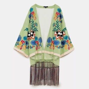 Zara Embroidered Fringe Kimono 2018 Collection